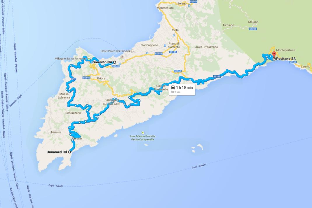 Mappa con itinerario per Positano