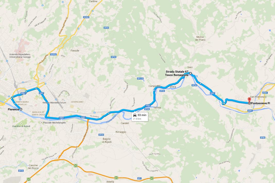 Road Trip Italia - Mappa con itinerario per Firenze