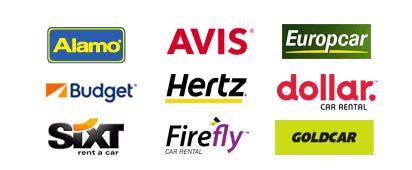 Empresas de aluguer parceiras da Auto Europe: Hertz, Avis, Dollar, Budget, Enterprise, National, Europcar, Buchbinder, Peugeot